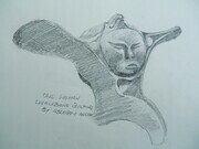 Owl Woman - the pencil sketch of the whalebone carving that inspired this series